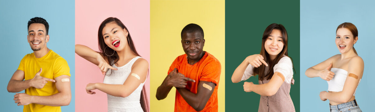Covid-19 vaccination. African, asian, caucasian men and women posing isolated on light studio background. Collage with models in casual clothes.