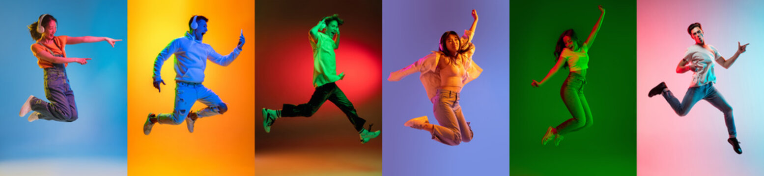 Portrait of group of people on multicolored background in neon light, collage.