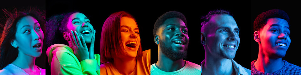 Fototapeta Portrait of happy young people, men and women isolated on multicolored background in neon light, collage. obraz