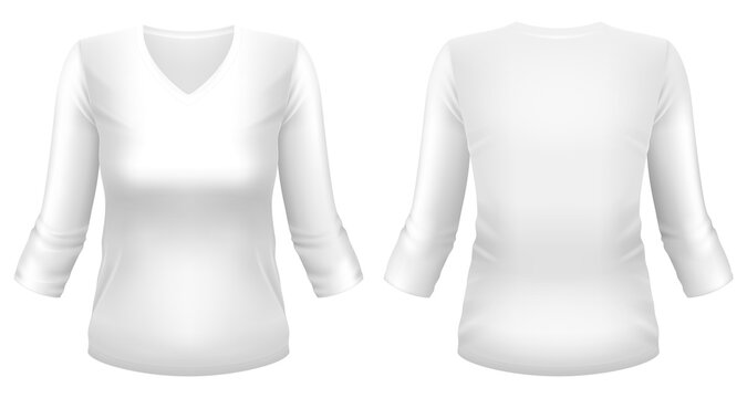 Blank white V-neck 3/4 sleeve t-shirt template. Front and back views. Photo-realistic vector illustration.