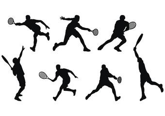 Fototapeta Silhouettes of tennis player with various movement obraz