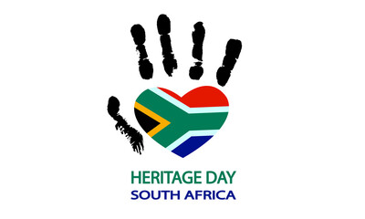 Fototapeta Hand with the flag of south africa for heritage day, vector art illustration. obraz