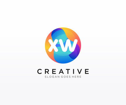XW initial logo With Colorful Circle template vector.