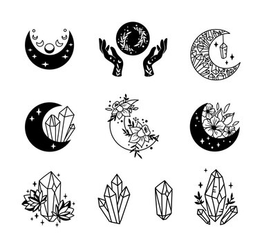 Mystical boho floral moon isolated cliparts bundle, celestial collection, moon and flowers set, magic line crescent moon, crystals bundle, esoteric objects - black and white vector