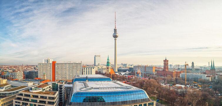 Aerial view on Alexanderplatz in Berlin, Germany