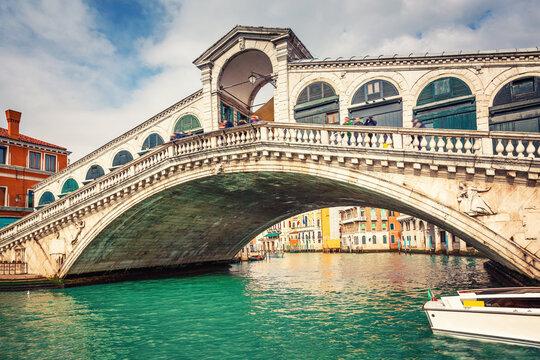 Rialto bridge over Grand canal in Venice, Italy