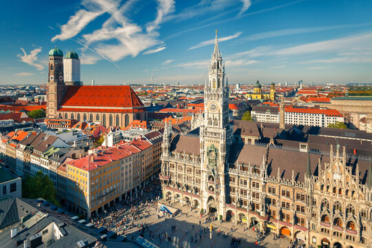 Aerial view of Munchen: New Town Hall and Frauenkirche