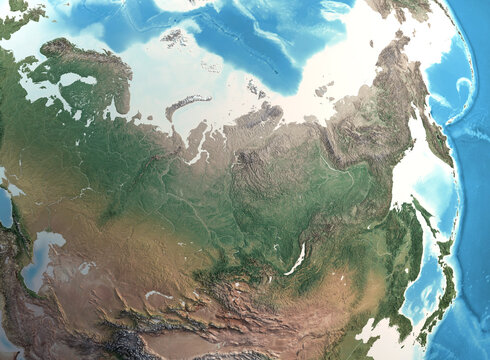 Physical map of North Asia, Siberia and Russia, with high resolution details. Satellite view of Planet Earth, its geography and topography. 3D illustration - Elements of this image furnished by NASA