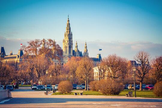 View on Town Hall in Vienna, Austria
