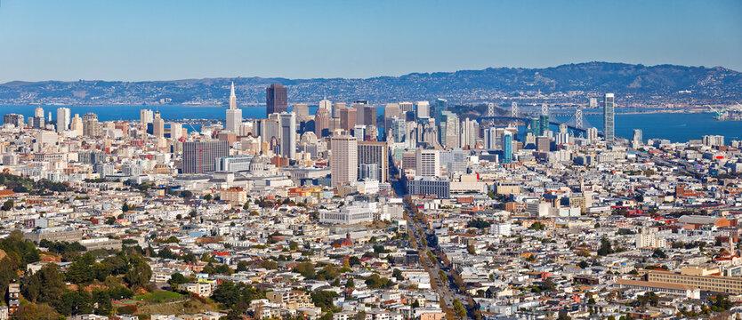Panoramic cityscape of San Francisco at sunny day, San Francisco, USA
