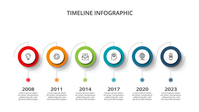 Timeline with 6 elements, infographic template for web, business, presentations, vector illustration