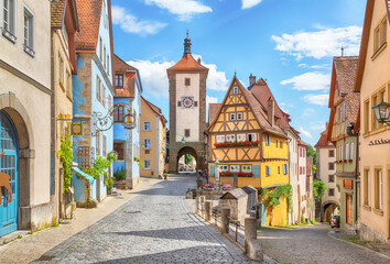 Obraz Picturesque view of medieval town Rothenburg ob der Tauber on sunny day, Bavaria, Germany - fototapety do salonu