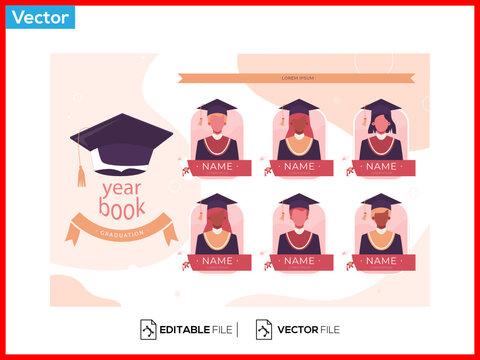 Flat graduation yearbook illustration, Premium Vector