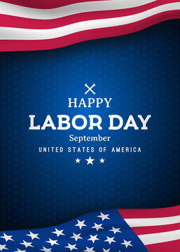 Happy Labor Day vertical greating banner with United States national flag. Vector template for promo banners, flyers, brochures. Stock vector iilustration.