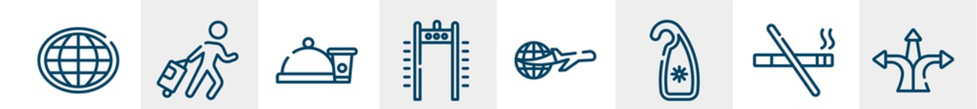 travel and tourism line icons such as earth globe, traveler at the airport, snacks, airport security portal, travelling around the world, directions arrows outline vector sign. symbol, logo