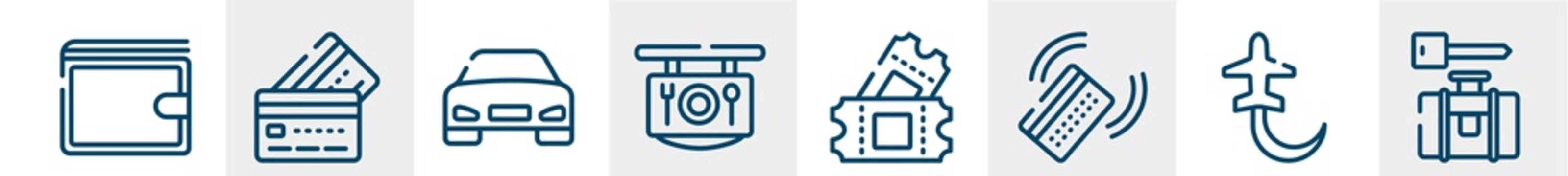 airport and travel line icons such as elegant wallet, simple cit card, front car, restaurant, ticket card, left luggage outline vector sign. symbol, logo illustration. linear style icons set. pixel