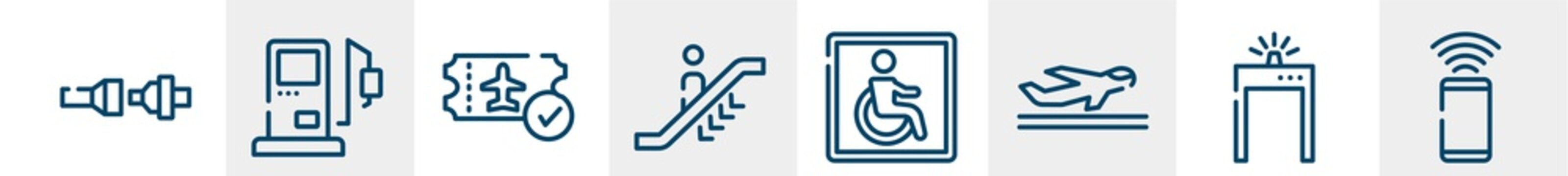 airport and travel line icons such as fasten your seatbelts, gas station, verified boarding card, escalator going down, wheelchair accessible, smartphone with wifi outline vector sign. symbol, logo