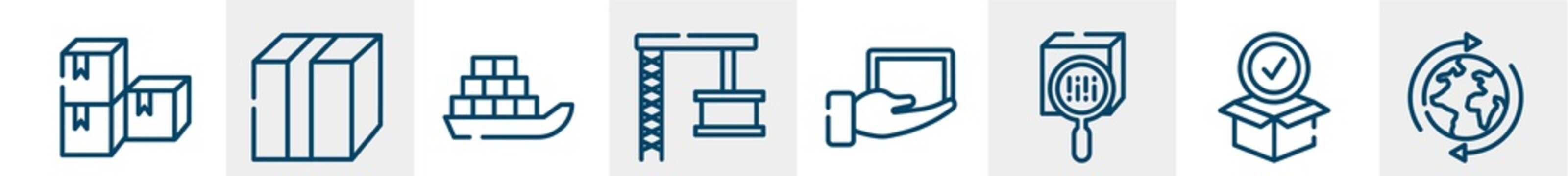 logistics line icons such as stack package, closed cardboard box with packing tape, sea ship with containers, container crane, lightweight, worldwide shipping outline vector sign. symbol, logo