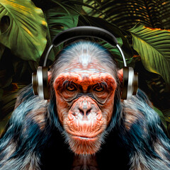 portrait monkey with headphones in the jungle