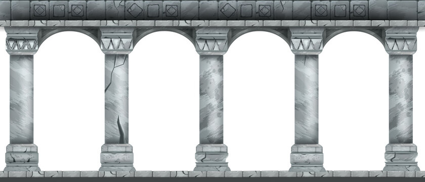 Stone arch vector illustration, marble ancient Roman colonnade, Greek antique pillars isolated on white. Classic palace column, facade portal frame, cracked vintage castle arcade. Temple stone arch