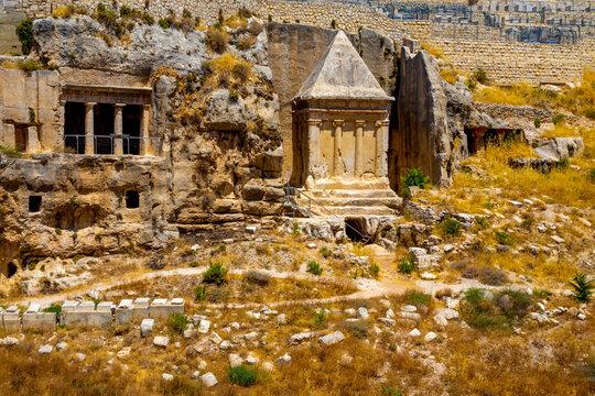 Jerusalem, Israel. The Tomb of Benei Hezir and Tomb of Zechariah
