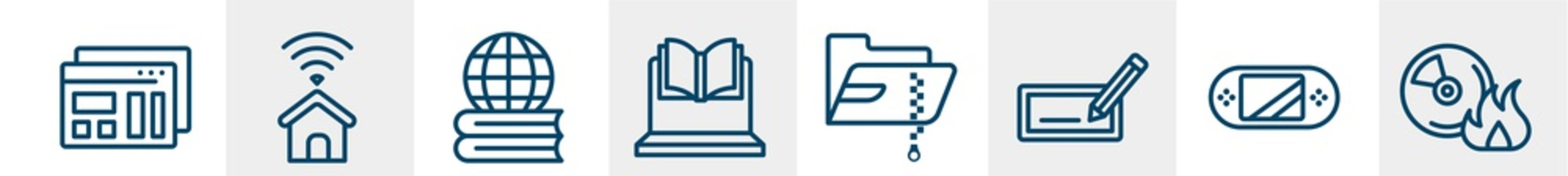 it & components line icons such as mockup de, smarthome, global learning, online lesson, compressed file, burn cd outline vector sign. symbol, logo illustration. linear style icons set. pixel