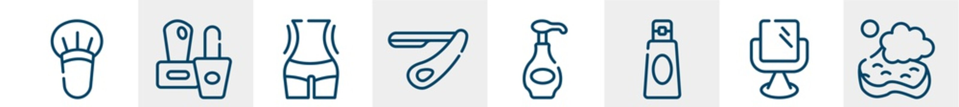 beauty salon line icons such as blush brush, two nail polish, women waist, straight razor, body lotion, bath sponge outline vector sign. symbol, logo illustration. linear style icons set. pixel