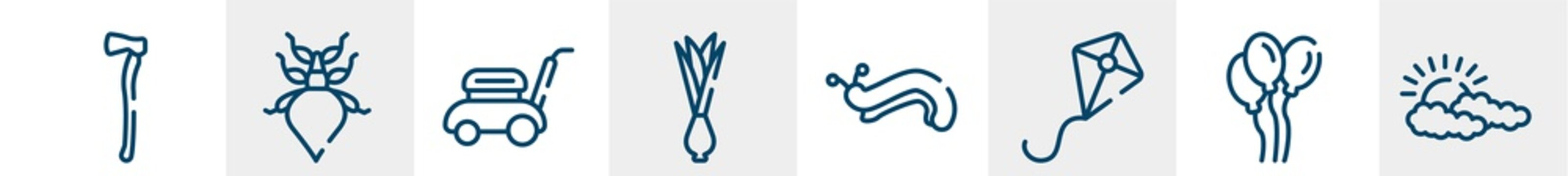 spring line icons such as axe, leaf insect, lawn mower, onion, slug, cloudy outline vector sign. symbol, logo illustration. linear style icons set. pixel perfect vector graphics.