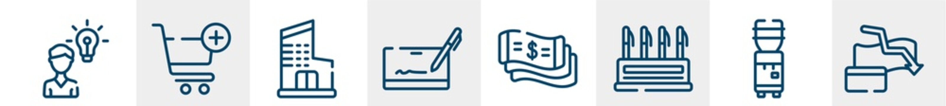 economy line icons such as opinion, add to cart, department, cryptographic, money flow, bankrupt outline vector sign. symbol, logo illustration. linear style icons set. pixel perfect vector