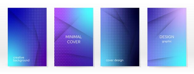 Fototapeta Minimal Poster. Pastel Soft. Blue Gradient Set. obraz