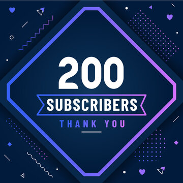 Thank you 200 subscribers celebration modern colorful design.