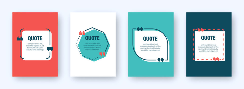 Set of colorful banners with quote frames. Speech bubbles with quotation marks. Blank text box and quotes. Blog post template. Vector illustration.