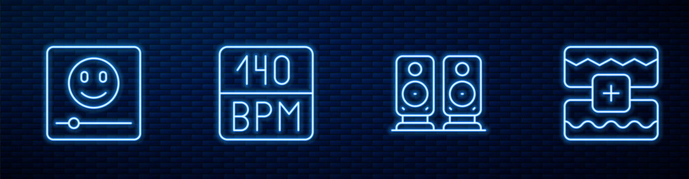 Set line Stereo speaker, Music player, Bitrate and wave equalizer. Glowing neon icon on brick wall. Vector