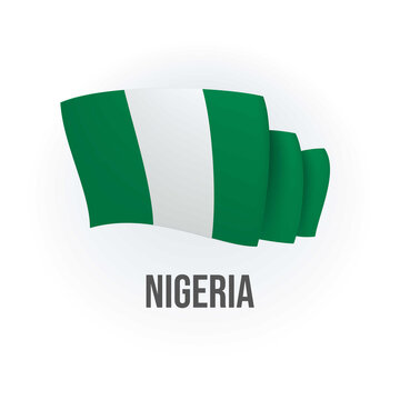 Nigeria vector flag. Bended flag of Nigeria, realistic vector illustration