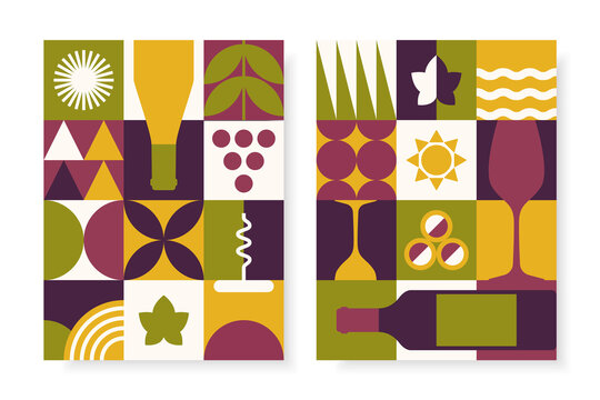 Abstract wine posters set in geometric style. Vector design template for wine tasting invitation, festival flyers, branding, etc.