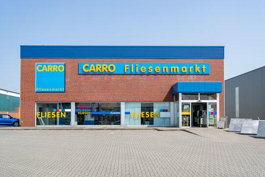 HUSUM, GERMANY - JUNE 18, 2021: Carro tile market