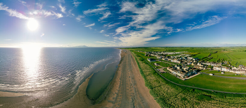 Aerial view of Allonby village beach in Allerdale district in Cumbria, UK