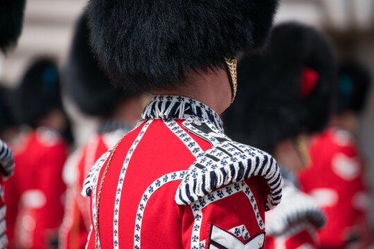 Queen's Guard in traditional uniform at the Buckingham Palace, London, United Kingdom