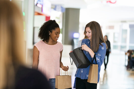 Mall: Teen Girl Shows Friend What She Bought