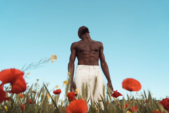 Black man surrounded by nature
