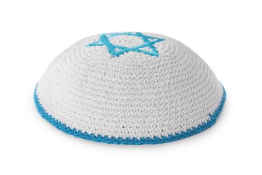 Kippah with Star of David isolated on white. Rosh Hashanah holiday symbol