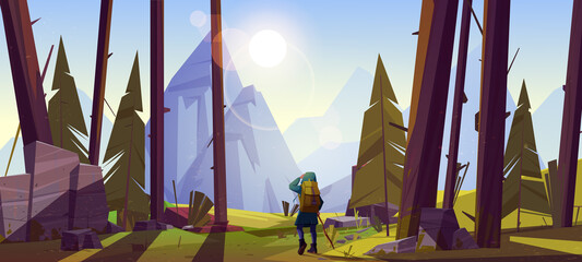 Fototapeta Traveler at forest with mountains view at morning. Travel journey, adventure. Tourist with backpack stand at rocky landscape look into the distance on high peak, hiking, Cartoon vector illustration obraz