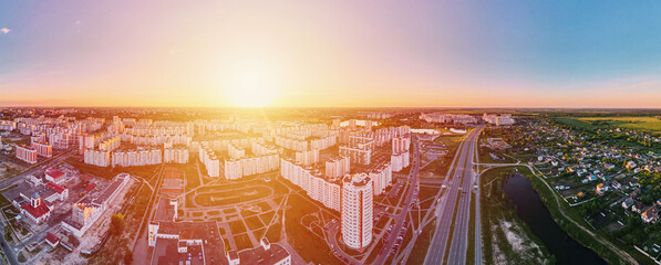 Cityscape of Gomel, Belarus. Aerial view of town architecture, panorama. City streets at sunset, bird eye view