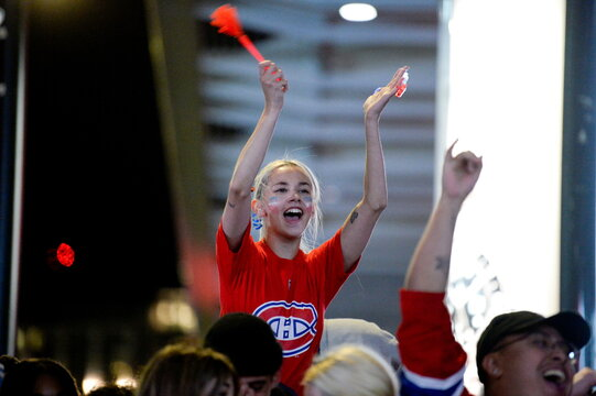 Fans celebrate as they watch game five of the NHL Stanley Cup Finals