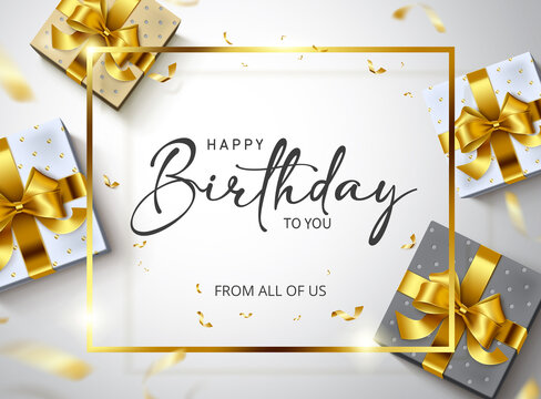 Happy birthday vector banner template. Happy birthday to you greeting text in gold frame empty space with gifts and confetti celebration elements for elegant birth day card design. Vector illustration