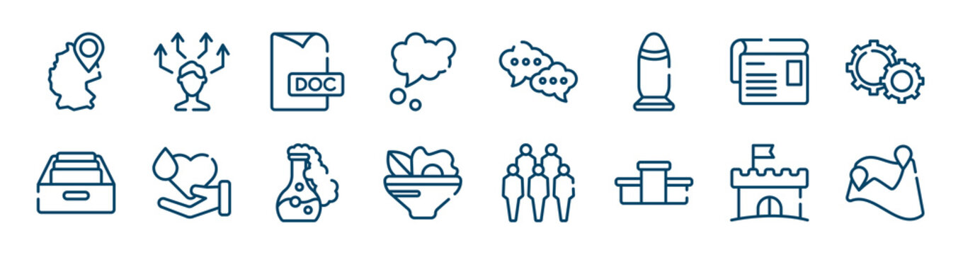 icons set such as decision, dream, article, archive, chemical, castle outline vector signs. symbol, logo illustration. linear style icons set. pixel perfect vector graphics.