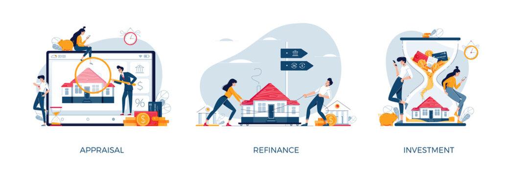 Real estate illustration set. House appraisal, property investment, mortgage refinancing. Banking, mortgage, investment, refinance, real estate concept collection for web, banner design.Flat vector