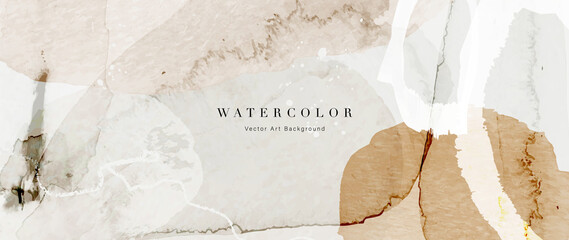 Obraz Watercolor art background vector. Wallpaper design with paint brush and gold line art. Earth tone blue, pink, ivory, beige watercolor Illustration for prints, wall art, cover and invitation cards. - fototapety do salonu