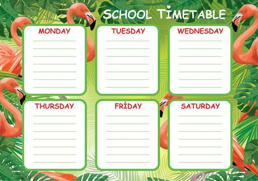 Vector template school timetable, pink flamingo, tropical design.
