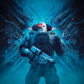 Cyberpunk soldier alien machinery / 3D illustration of science fiction military robot warrior looking up with raised fist inside space ship